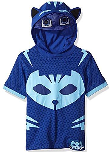 PJ Masks Boys' Little S/S Catboy Hoodie W/MASK, Blue, 7 (Cake Topper Mask)