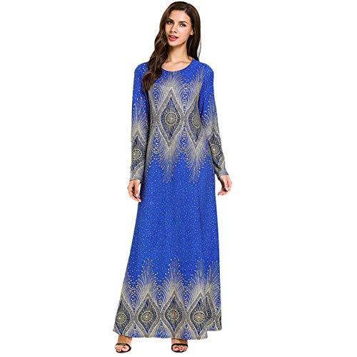 Muslim Dresses for Women Floral Print Long Sleeve Casual Dress Abaya Kaftan Islamic Clothing Maxi Long Prom Dresses (XL) Blue