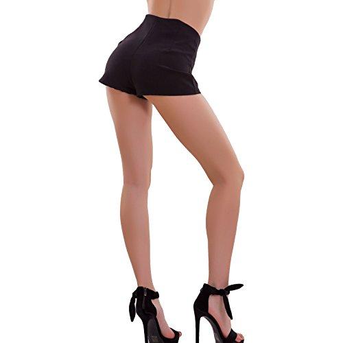 zip 1532 pinup vita hotpant Toocool donna alta AS bottoni Pantaloncini nuovi Nero sexy shorts qxZnC7w6T