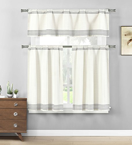 (Home Maison  - Wilmont Striped Cotton Blend Textured Kitchen Tier & Valance Set | Small Window Curtain for Cafe, Bath, Laundry, Bedroom - (Grey))