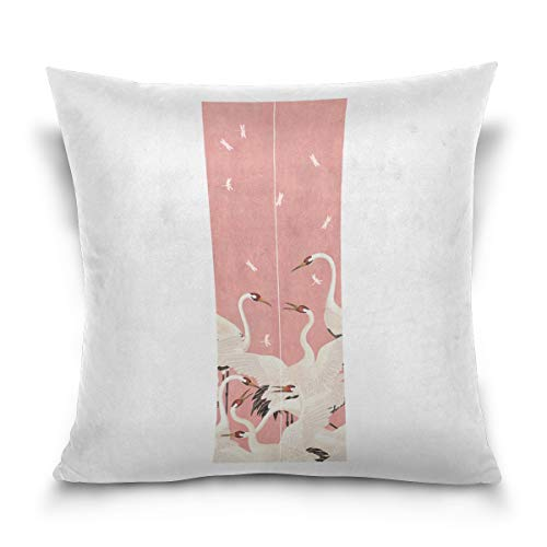 Aibileen Decoration Throw Pillow Cover,Cranes Chinese Style Soft 100% Cotton Square Home Decor Cushion Covers for Car Sofa Bed Couch,1616/1818/2020 -