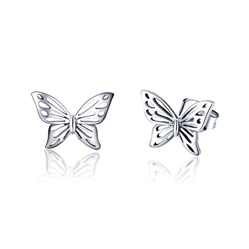 (Dtja Vintage Filigree Butterfly Studs Earrings for Women Teen Girls S925 Sterling Silver Small Stud Fashion Hypoallergenic Jewelry Prime Gifts for her)
