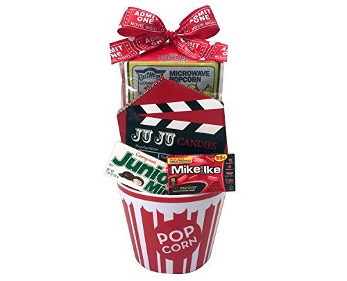 Valentine's Day Movie Night Snack Food Gift Bowl, Popcorn Candy Chocolate Gift Basket, Fun Family Bucket