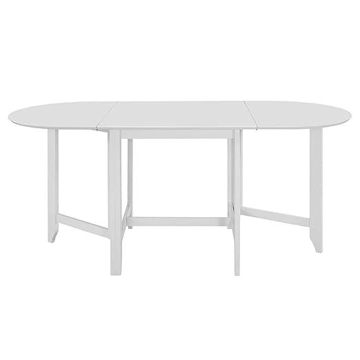 Festnight Mesa de Comedor Extensible Blanca (75-180) x75x74 cm MDF ...
