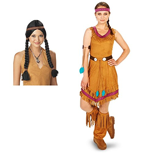 [Native Princess Adult Costume Medium Wig Bundle Set] (Pocahontas Wig)