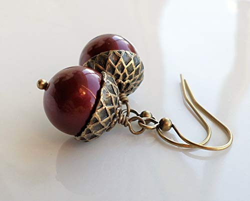 Acorn Pearl Earrings with Antique Brass and Dark Red Bordeaux Pearls
