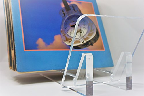 Vinyl Record Album Storage Display Stand and Holder - Modern Minimalist Design - 100% Crystal Clear Acrylic - For LP Record Albums, DVDs, or CDs - Made in USA by Ion Acrylics (Image #8)
