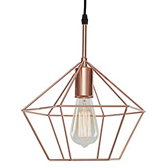 Light Society Verity Geometric Pendant Light, Rose Gold, Modern Industrial Lighting Fixture (LS-C179-CPR)