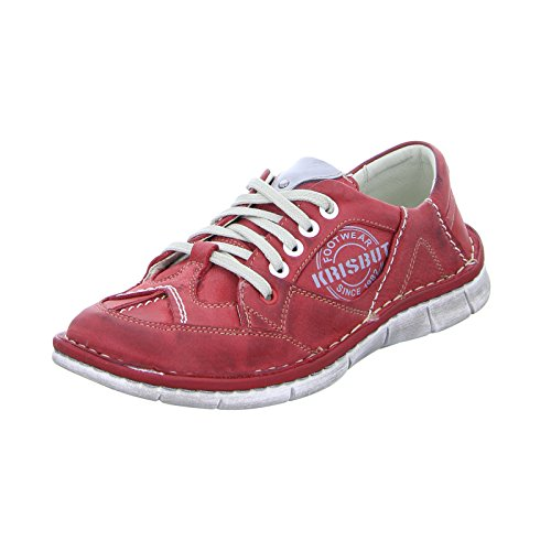 KRISBUT 2113-1 Damen Sneaker Halbschuh Schnürer Leder Rot (Red)