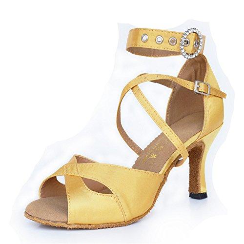 Señoras Zapatos De Baile Zapatos De Baile Latino De Chamba De Lombardía Oro de 8cm.