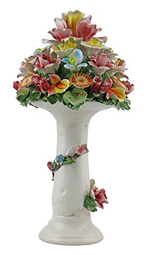 Authentic Italian Capodimonte 13 Inch Mix flower Pillar Bouquet Stand with Flower Garland