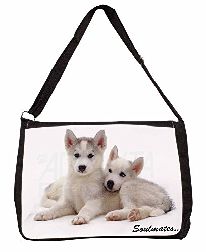 Husky Puppies Soulmates Sentiment Large 16 Black School Laptop Shoulder Bag Og1HpoNj