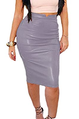 Zamtapary Women Elegant PU Faux Leather Midi Pencil Bodycon Office Skirt