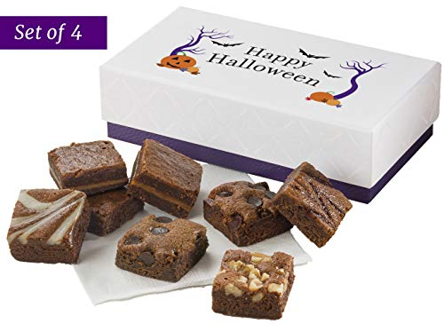 Fairytale Brownies SET OF FOUR Halloween 8-Morsel Favor Gourmet Chocolate Food Gift Basket - 1.5 Inch x 1.5 Inch Bite-Size Brownies - 32 Pieces - Item GL468 -