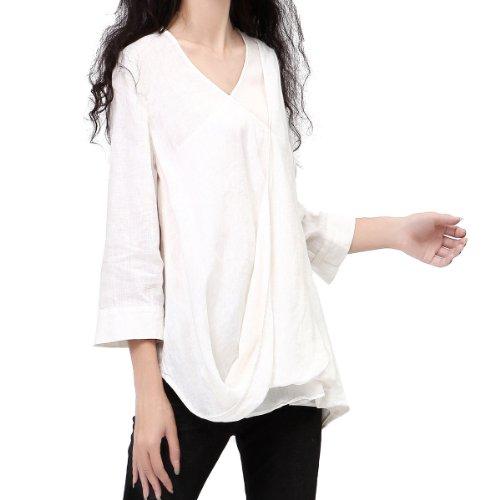 Artka Women's Layered Bias Cut Slim Fit Ramie Shirt L White