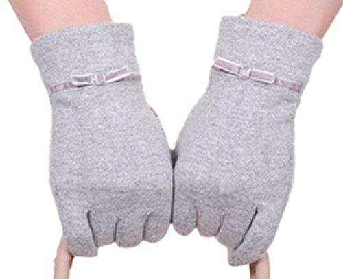 Youchan(ヨウチャン) 手袋 グローブ ニット リボン フェミニン ウール スマホ対応 暖かい グッズ 防寒 ギフト 5本指 彼女 レディース