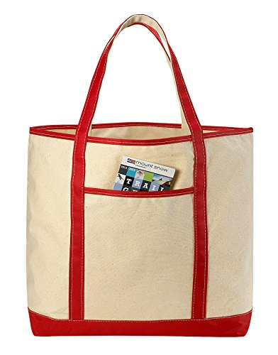 Amazon.com: Canvas Tote Beach Bag, Red - 22
