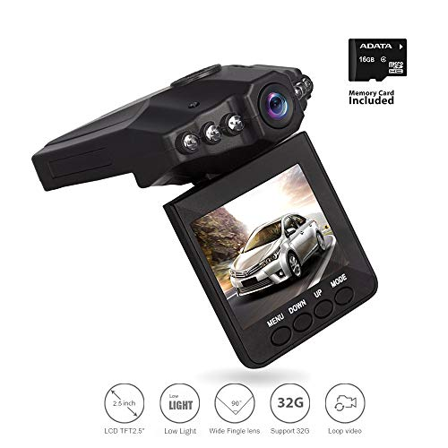 Dash Video, Dash Cam for Cars with Night Vision/HD IR Dash Cam 270 Degrees Rotatable Camera Video Recorder/Traffic Dashboard Camcorder Loop Recording 6Lights (Camera & SD Card)