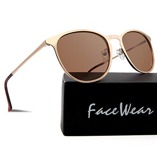FaceWear Classic Round Retro Sunglasses UV400 Circle Lens Metal Frame Men Women FW1006 C2 ()