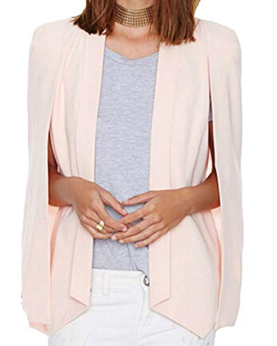Abierto Mujer Pink Blazer Traje Chaqueta Abrigo Solapa Cárdigan Cqw011