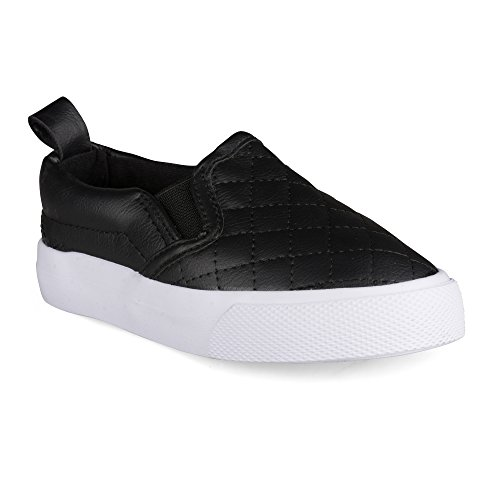 [SBV200-BLACK-T7] Chillipop Slip On Fashion Sneaker for Toddler Girls with Quilted Leather Upper