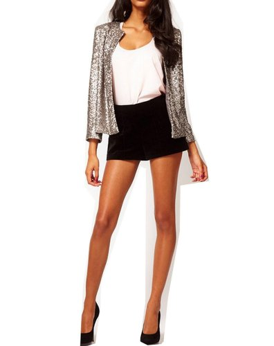 WIIPU Women blazer with sequin(J117) (XXL, silver)