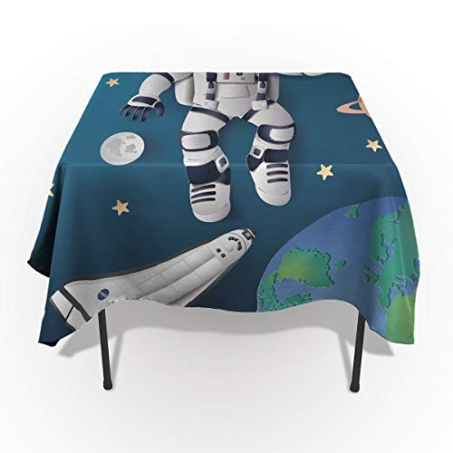 Space Exploration Astronaut Space Odyssey Tablecloths Washable Fabric Rectangle Table Cloth Cover for Kitchen Dinning Tabletop Decoration 60X104In