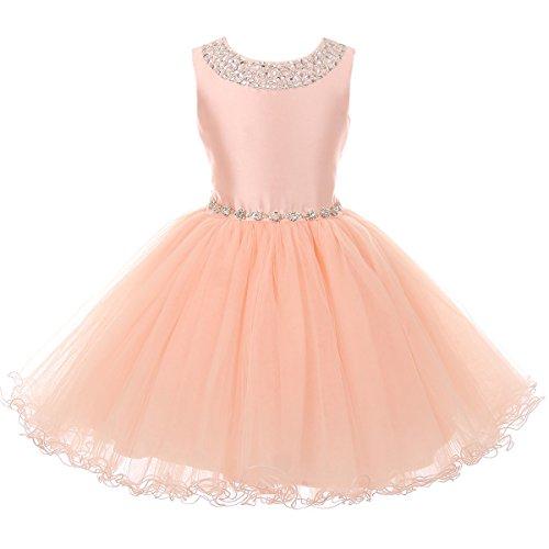 Big Girls Sleeveless Satin Bodice Hand Work Sequins on the Neck Rhinestone Belt Girl Dress Blush - Size 12