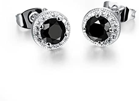 Fate Love 8mm Platinum-plated/18k Gold Plated Cubic Zirconia Round Halo Stud Earrings,Color Black/White/Gold