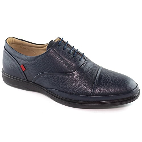 Mens Genuine Leather Made In Brazil Broad Street Classic Oxford Navy Grainy Lace Up Marc Joseph NY Fashion Shoes 11
