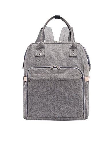 iSuperb multifunción resistente al agua de gran capacidad bebé para cambio de pañales bolso mochila bolso correas para el carrito con un montón de bolsillos para Papá y Mamá negro negro gris