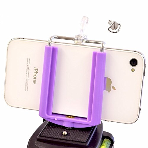 DaVoice Cell Phone Tripod Adapter Mount Holder Clamp Compatible with iPhone X XS Max XR Se 8 7 6 6s Plus Samsung Galaxy S9 S8 S7 Edge Adjustable Smartphone Bracket Clip Cellphone Attachment (Purple)