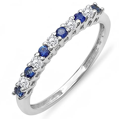 10K White Gold Round White Diamond & Blue Sapphire Anniversary Stackable Wedding Band (Size 5) (10k Gold Ring Size 5)