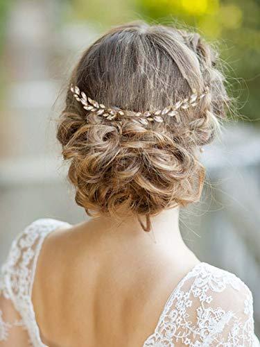 Yean Bride Wedding Hair Comb Opal Hair Vine Rhiestones Bridal Hair Accessories for Brides and Bridesmaids (Gold)