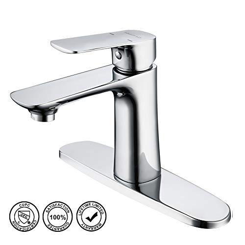 Bathroom Sink Faucet, HMEGAO Single Bathroom Faucet Chrome Plated with cUPC Supply Hose, 10 Inch Deck Plate and NEOPERL Bubbler, Lead-free Copper Vanity for Bar, Pre-Kitchen, Lavatory, Family, School (24' Bar Vanity)