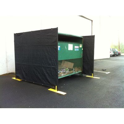 Crowd Control Temporary Fence Panel Kit - Perimeter Patrol Dumpster Enclosure (3 sides) - Includes black screen mesh for blocking unsightly dumpsters or trash areas. 7.5'W x 6'H - 4 Panel Kit Black