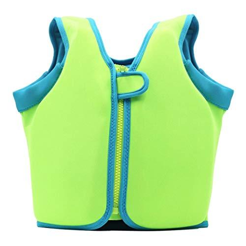 Wenjuan Float Vest Buoyant Swimming Suit Jacket Life Jacket Safety Vest for Toddler Children Kids Baby (Green, XL)