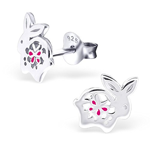 925 Sterling Silver Bunny Rabbit w/ Pink Flower Stud Earrings 21360