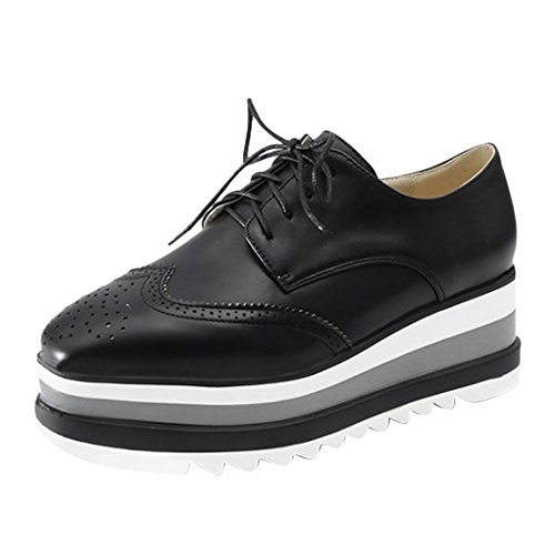 Latasa Mujeres Lace-up Platform Oxford Zapatos Negro