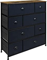 Sorbus Dresser with 8 Drawers - Furniture Storage Chest Tower Unit for Bedroom, Hallway, Closet, Office Organization - Steel Frame, Wood Top, Easy Pull Fabric Bins (Wood/Black)