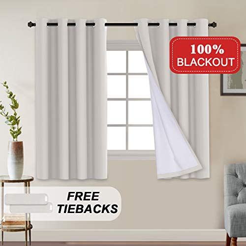 - Full Blackout Curtain Draperies Waterproof Thermal Insulated Solid Grommet Curtains with Liner Backing for Living Room/Bedroom Anti Rust Grommet Window Curtains 2 Panels (W52 x L63 inches, Natural)