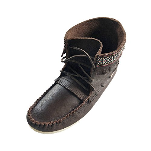 Laurentian Chief Men's Fringe and Braid Apache Moccasin Boots Fudge Brown - Fringed Mens Boots