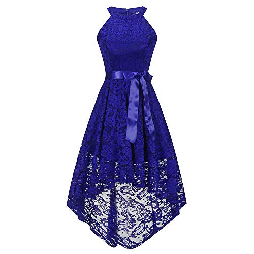 DEATU Bridesmaid Lace Dress Women Sleeveless/Long Sleeve Formal Ladies Wedding Bridesmaid Lace Long Dress(E-Blue,S)