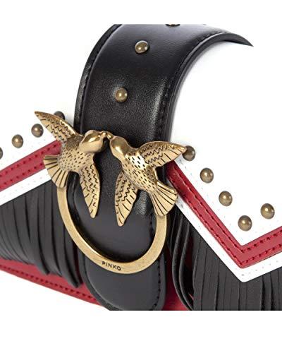 W Pinko 7 Sacs Vitello Rosso Tricolor 5 H 5x12x21 Love Mini épaule x Multicolore L Tracolla femme portés Bianco cm Nero TxFqrTA