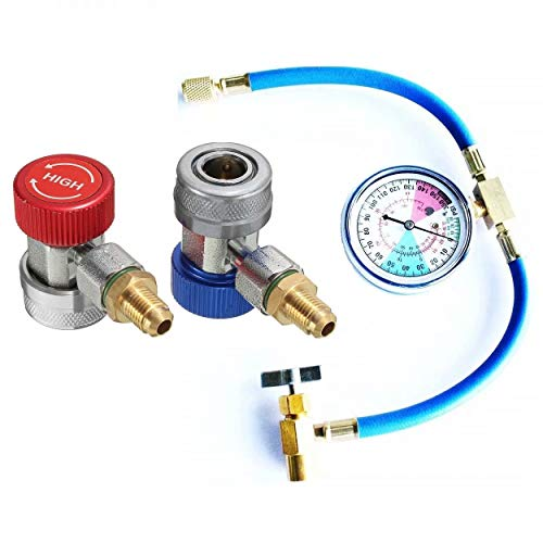 """JahyShow Safe 3226 Can Tap with Gauge - R-134a U-Charge Hose Can to R-12/R-22 Port + Adjustable AC R134a Quick Coupler Connector Adapter High&Low 1/4"""" SAE HVAC Hose Conversion kit"""