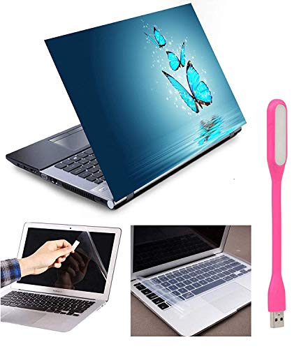 Imagination Era 4in1 Butterflies Wallpaper Combo Accessories Kit for 15.6 inch Laptops Decal Vinyl Screen Guard Silicone Keyboard Protector and USB Led Light Dimensions : 15.6 x 10.1 (Multicolor)