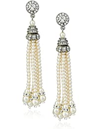Swarovski Crystal Glass Pearl Tassel Post Earrings for Bridal Wedding Anniversary