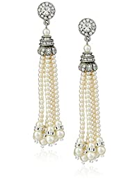 Ben-Amun Jewelry Simulated Pearl and Swarovski Crystal Tassel Earrings