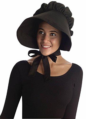 [Black Pilgrim Lady Bonnet Colonial Quaker Hat Cap Adult Costume Accessory] (Quaker Costumes)