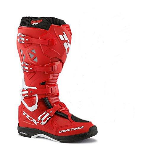 Tcx Comp Evo Michelin Mens Gata Motorcykel Stövlar - Röd / Vit / Oss 12 / Storlek 46